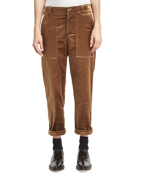 Brunello Cucinelli Velvet Cargo Pants, Bronze (Brown)