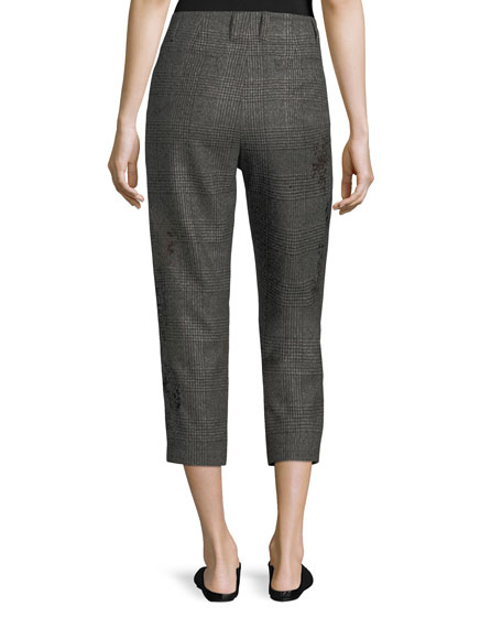 Cropped Princes of Wales Check Pants
