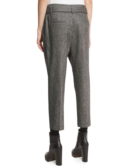 Tweed Single-Pleat Pants with D-Ring Belt, Black/White