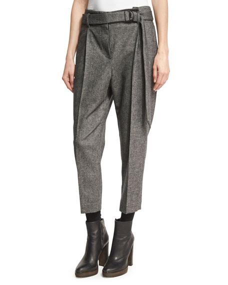 Brunello Cucinelli Tweed Single-Pleat Pants with D-Ring Belt,