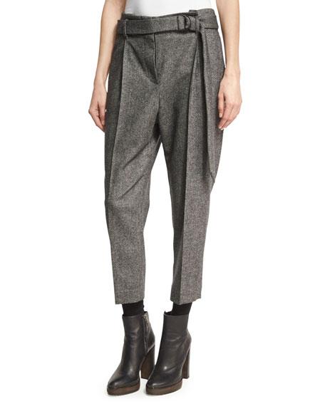 Brunello Cucinelli Tweed Single-Pleat Pants with D-Ring Belt,