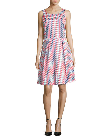 Armani Collezioni Mosaic-Print Sleeveless A-Line Dress, Multicolor