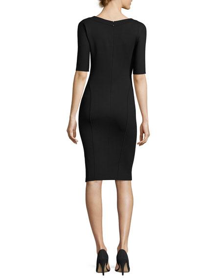 Milano-Jersey Elbow-Sleeve Dress, Black