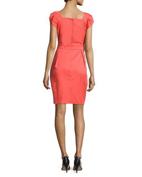 Cap-Sleeve Belted Dress, Pink