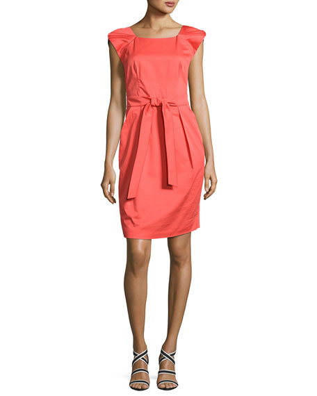 Cap-Sleeve Belted Dress, Pink