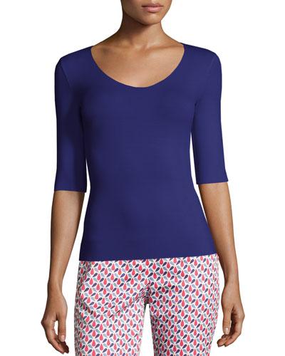 Scoop-Neck Elbow-Sleeve Jersey Top, Purple