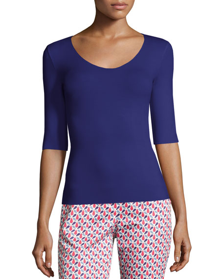 Scoop-Neck Elbow-Sleeve Jersey Top, Purple