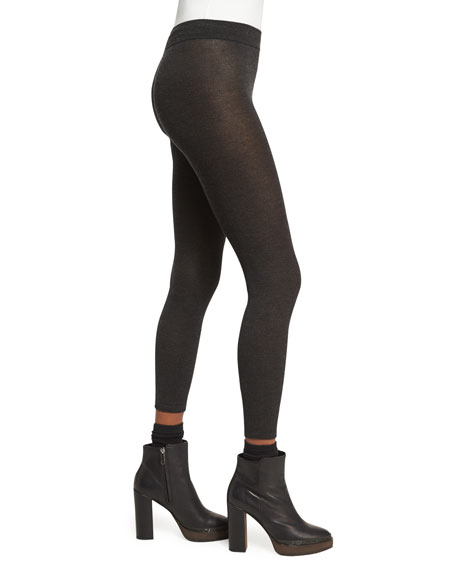Cashmere-Stretch Leggings, Charcoal