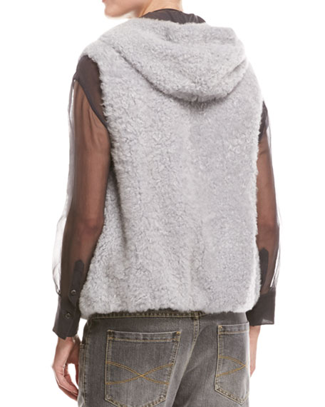 Monili-Trim Reversible Shearling Vest