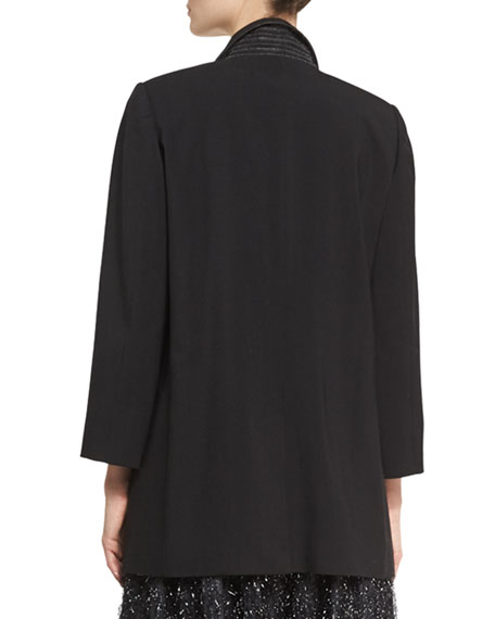 Double-Breasted Wool Blazer, Black