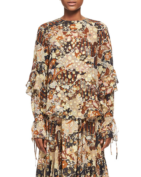 Chloe Deco Cloud Jacquard Blouse, Brown Pattern