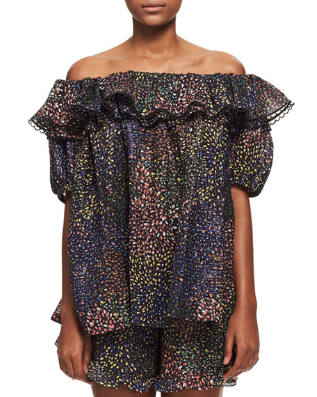 Chloe Off-Shoulder Fireworks Top, Navy