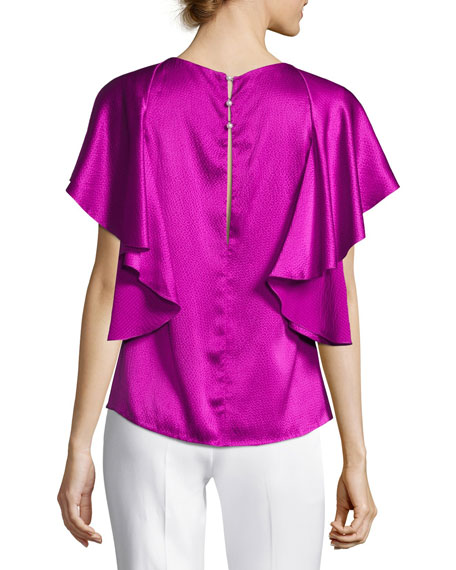 Hammered Satin Ruffle Blouse, Orchid