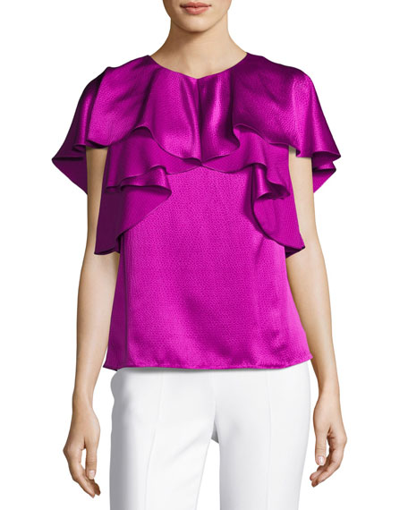 Monique Lhuillier Hammered Satin Ruffle Blouse, Orchid