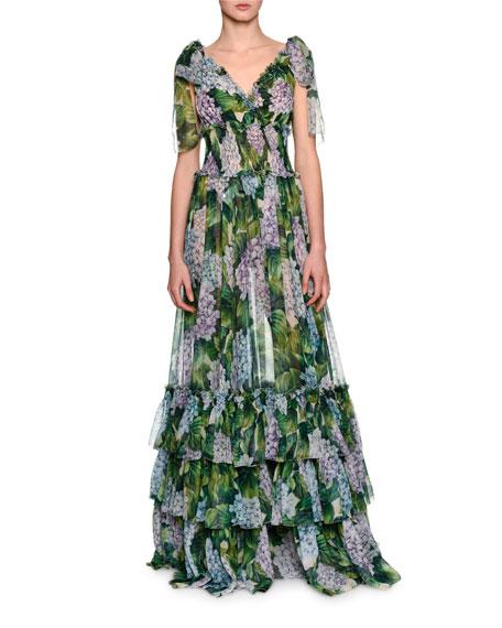 Tiered Hydrangea Chiffon Gown, Green
