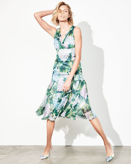 Sleeveless Hydrangea Chiffon Dress, Green