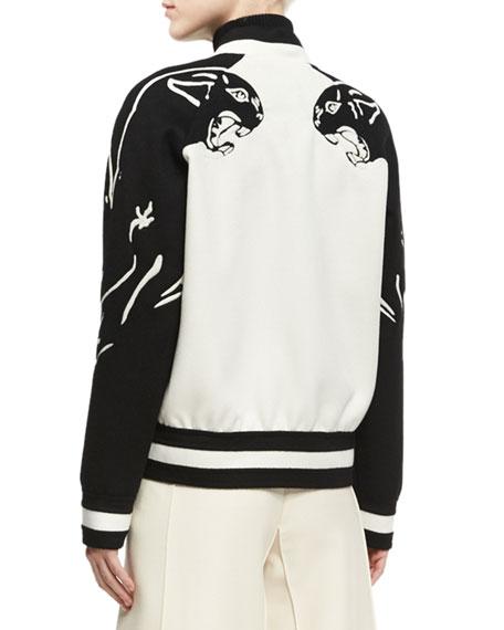 Panther Varsity Bomber Jacket, White/Black