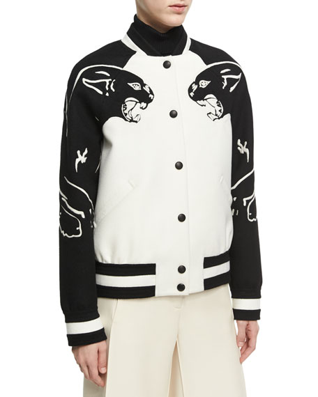 Valentino Panther Varsity Bomber Jacket, White/Black