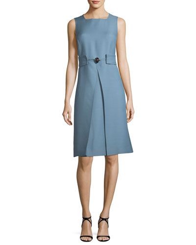 Crepe Couture Belted Pleat-Front Dress