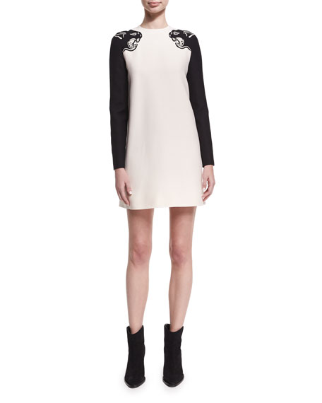 Embroidered Panther Crepe Couture Minidress, White/Black