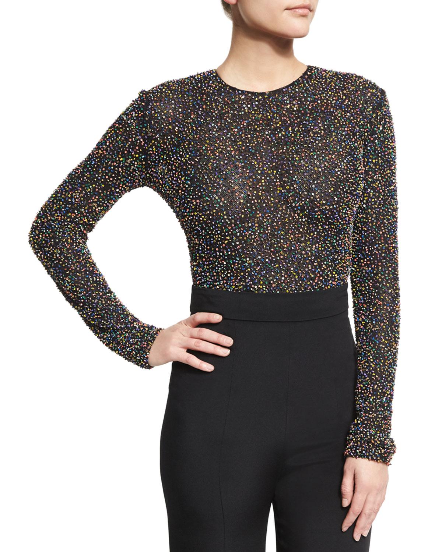 Cushnie Et Ochs Woman Cropped Beaded Silk Top Black Size 4 Cushnie et Ochs Cheap Outlet JIAV2