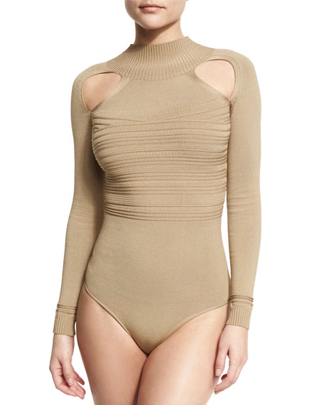 Ribbed Mock-Neck Thong Bodysuit with Cutouts, Beige