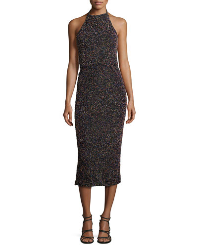 Beaded Halter-Neck Midi Dress, Black