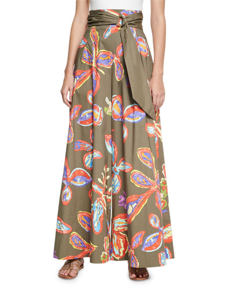 Peter Pilotto Belted Floral Palazzo Pants, Khaki