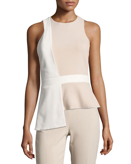 Cushnie Et Ochs Sleeveless Bicolor Top with Overlapping