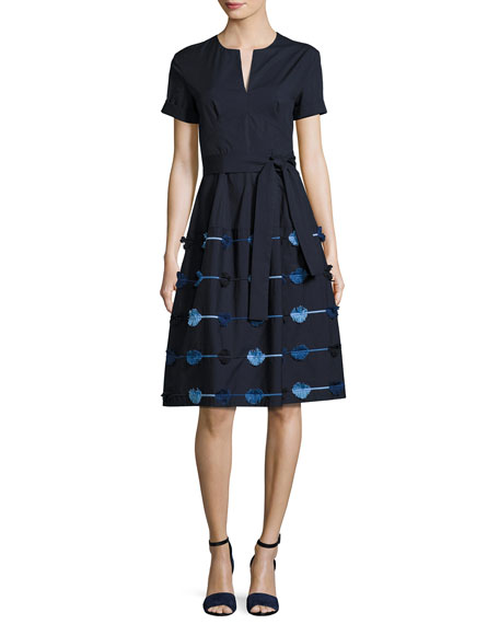 Lela Rose Belted A-Line Dress with Embroidered Skirt,