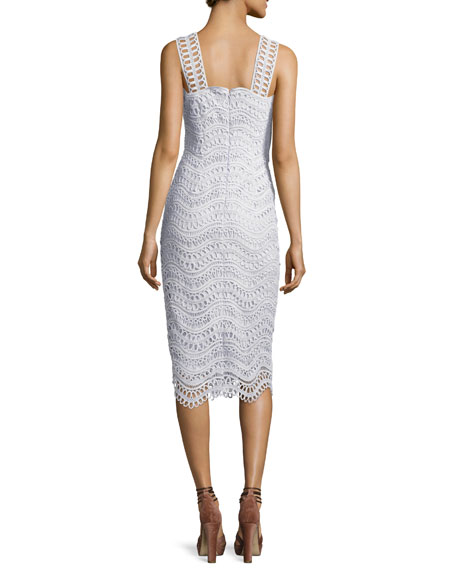 Wave-Lace Sleeveless Sheath Dress, Light Blue