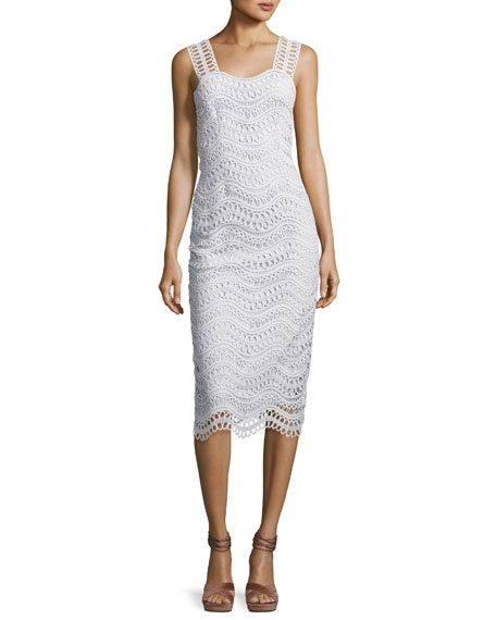 Lela Rose Wave-Lace Sleeveless Sheath Dress, Light Blue