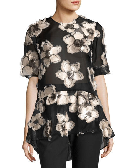Lela Rose Floral Fil Coupé Short-Sleeve Top, Blush/Black