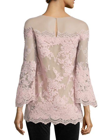 Bell-Sleeve Corded Lace Illusion Top, Blush