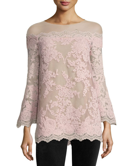 Marchesa Bell-Sleeve Corded Lace Illusion Top, Blush
