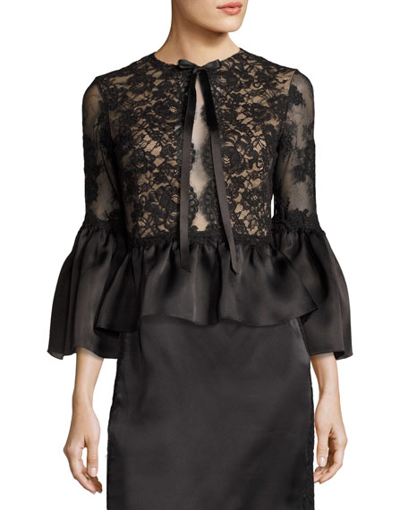 Marchesa Corded Lace Satin Peplum Top, Black and