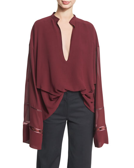 Derek Lam Lace-Inset Plunging V-Neck Blouse, Wine and