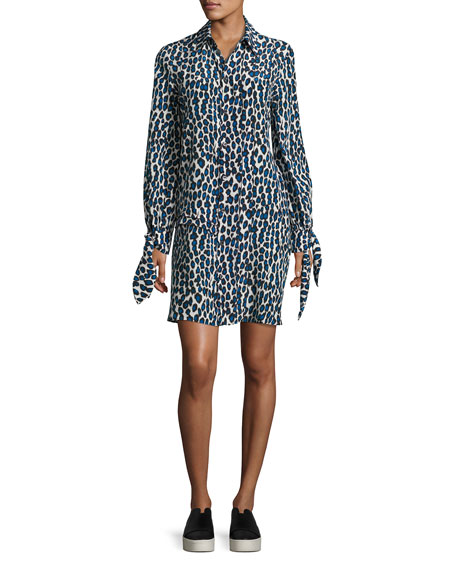 Derek Lam Leopard-Print Pleated Shirtdress, Blue