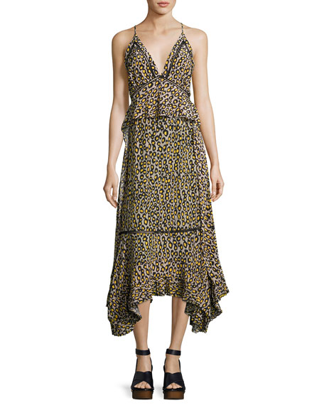 Derek Lam Leopard-Print Lace-Inset Sleeveless Silk Midi Dress,