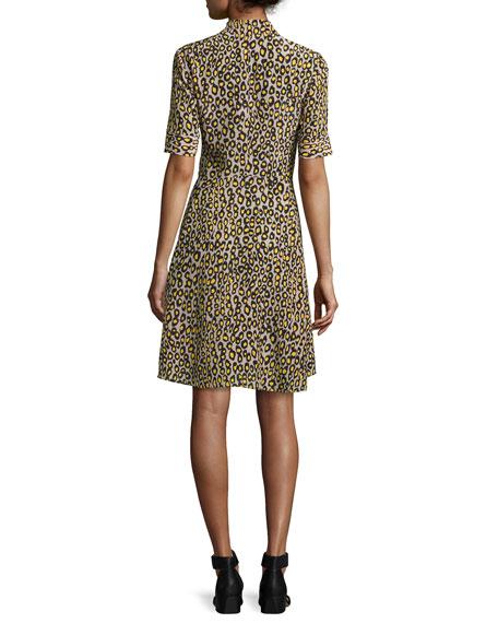 Leopard-Print Short-Sleeve Dress, Yellow
