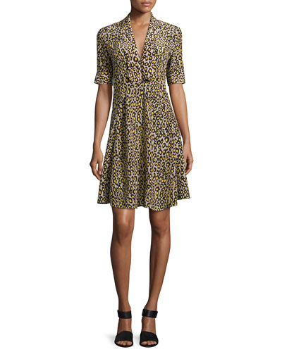 Leopard-Print Short-Sleeve Dress, Yellow