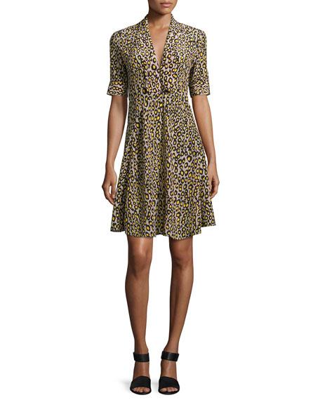 Derek Lam Leopard-Print Short-Sleeve Dress, Yellow