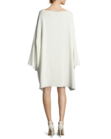 Tharpe Charmeuse Long-Sleeve Minidress, Off White
