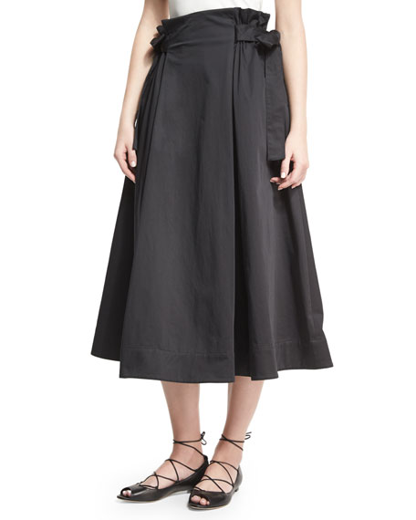 Rosetta Getty Sateen Tie-Side A-Line Midi Skirt, Black