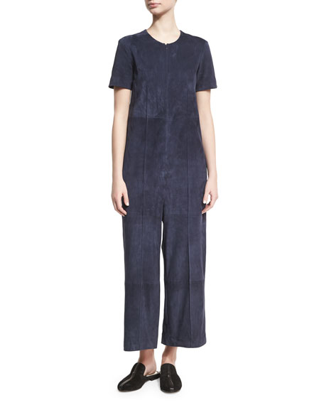 Rosetta Getty Short-Sleeve Suede Full-Leg Jumpsuit, Indigo