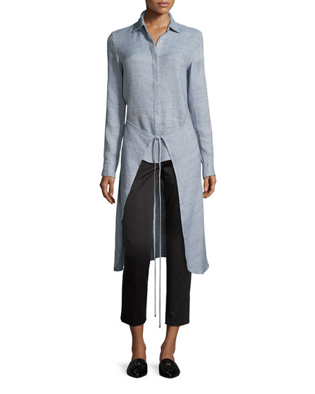 Melange High-Low Apron Wrap Shirt, Sky