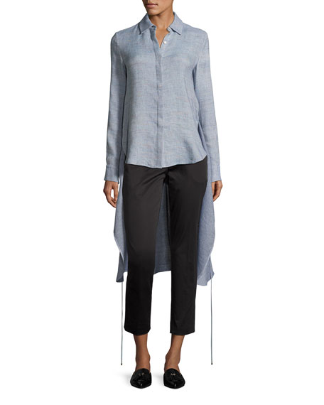 Rosetta Getty M??lange High-Low Apron Wrap Shirt, Sky