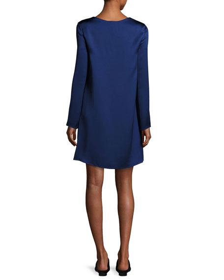 Kahlid Long-Sleeve Satin Minidress, Dark Blue