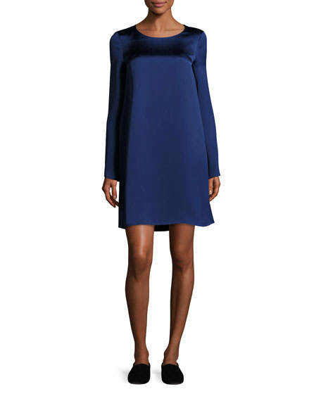 THE ROW Kahlid Long-Sleeve Satin Minidress, Dark Blue