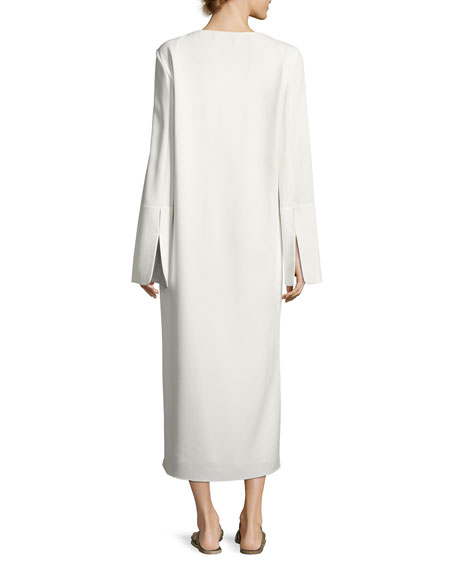 Selma Bell-Sleeve Cady Midi Dress, Ivory